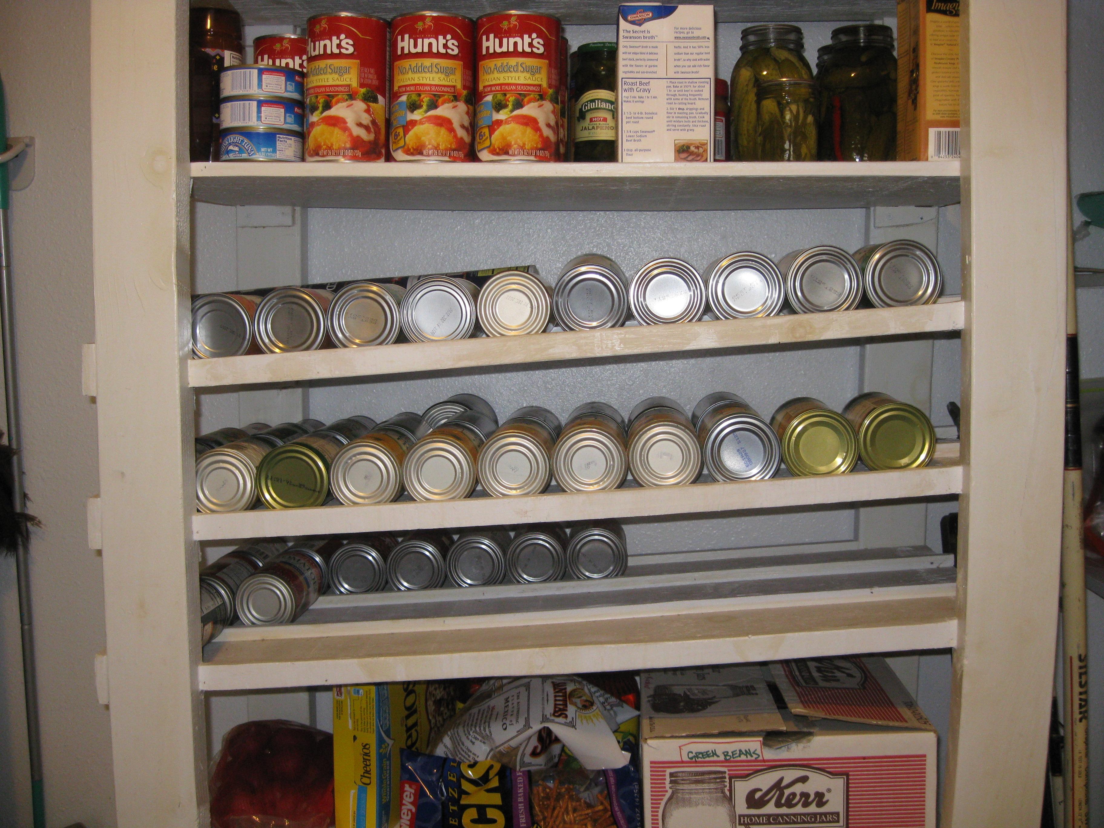 slanted shelves for canned food storage rotation lds intelligent living. Black Bedroom Furniture Sets. Home Design Ideas