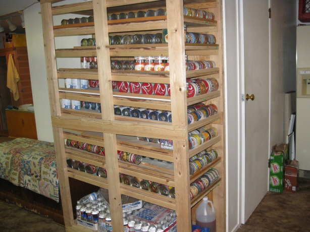 food storage can rotation shelf plans