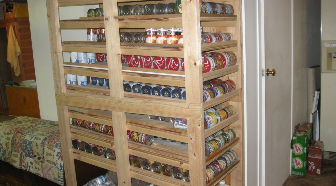 Slanted Shelf Pattern for Canned Food Rotation